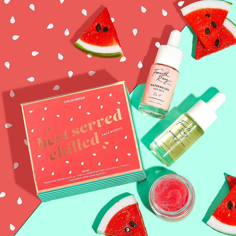 Colourpop and Fourth Ray Beauty Best Served Chilled Bundle Featuring Fourth Ray Beauty's best selling Watermelon Seed Face Oil, a brand new Fourth Ray Watermelon Face Milk, and a new watermelon flavored Lippie Scrub!