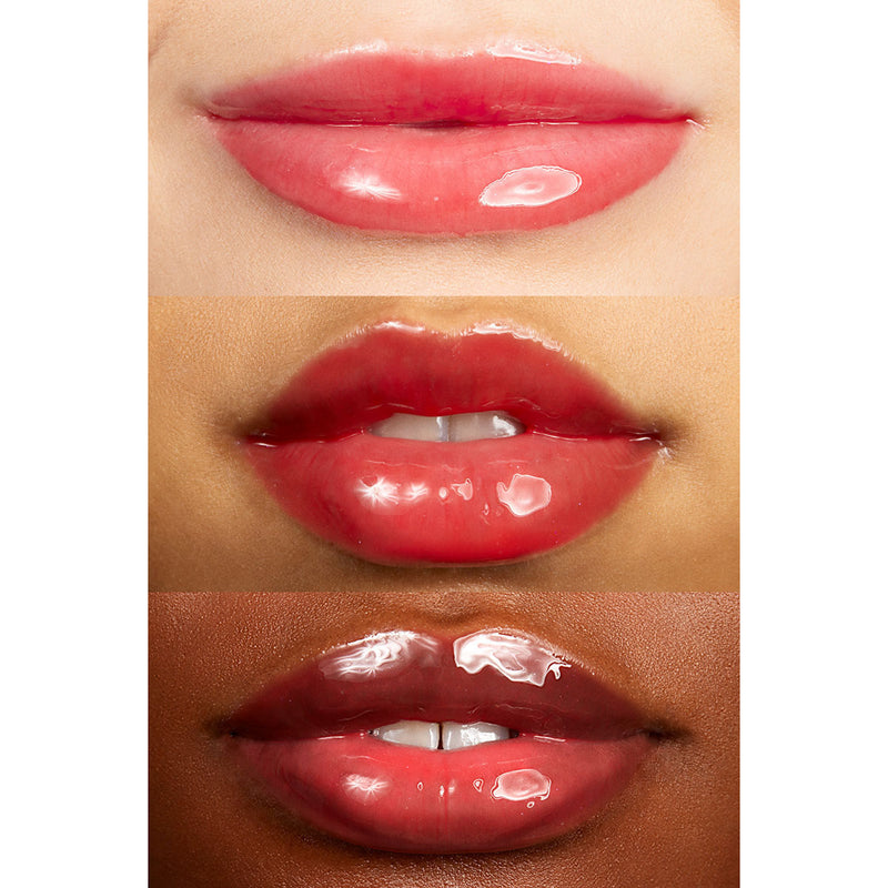Colourpop big slice sheer bright red so juicy plumping gloss This hydrating, plumping lip gloss creates fuller looking lips with the ultimate glassy, high shine finish.
