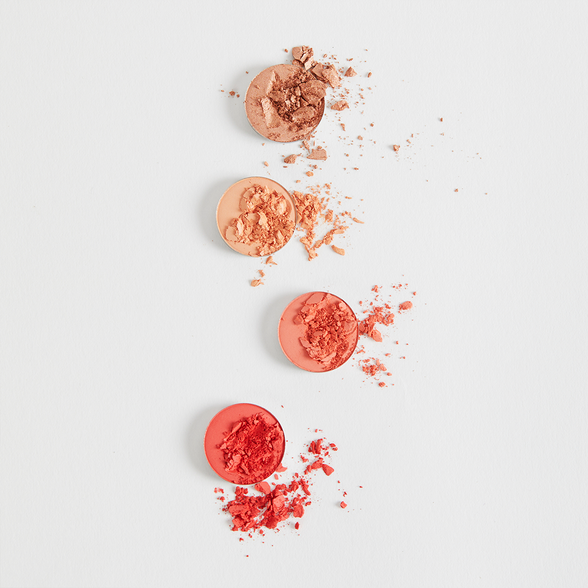 Blow Me Away includes Issues matte pastel peach, Centerfold matte vibrant coral, Take a Break duochrome peach with a subtle gold flip, and Slim Fit matte hot red coral Pressed Powder Eye Shadow Palette