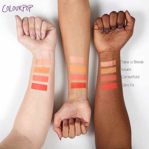 Centerfold matte vibrant coral Pressed Powder eye shadow swatches