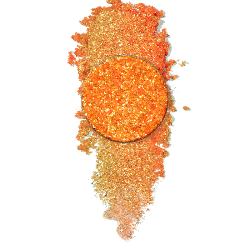 ColourPop Pressed Glitter Boombayah vivid orange with swatch