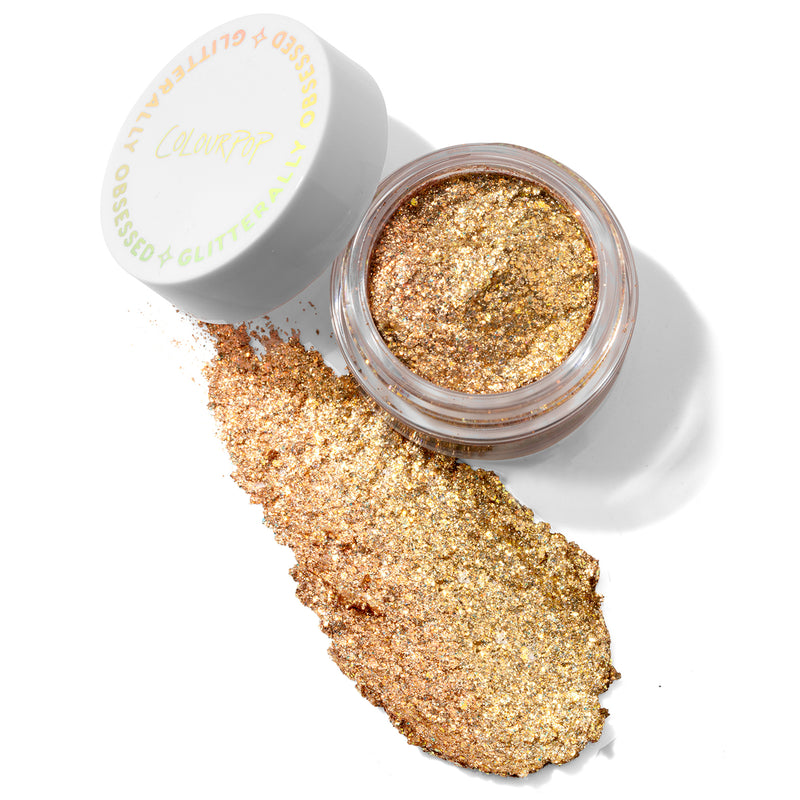 Colourpop bring the heat glitterally obsessed warm rose gold with gold and holographic glitter.This long wearing glitter packed gel paste provides ultra intense sparkle.