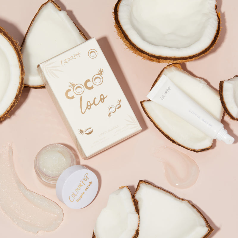 Coco Loco Kit includes a lip scrub and balm stylized photo with coconuts and products swatch