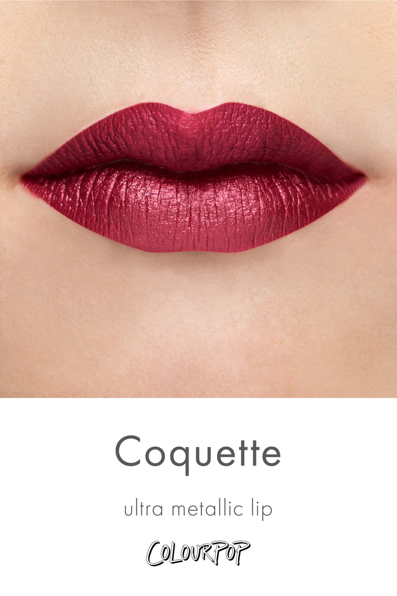 Coquette rich merlot red purple Ultra Metallic Lipstick swatch on fair skin