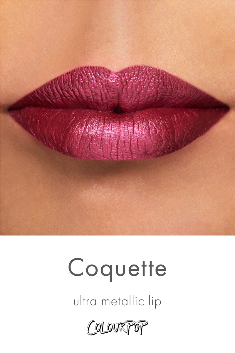 Coquette rich merlot red purple Ultra Metallic Lipstick swatch on medium skin