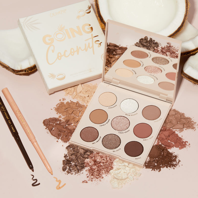 Créme de Coco includes our Neutral palette + creamy nude liners stylized photo with coconuts and product swatches