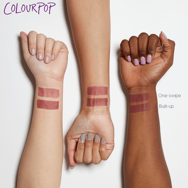 Drip sheer matte warm rosey mauve pink Blotted Lip arm swatches