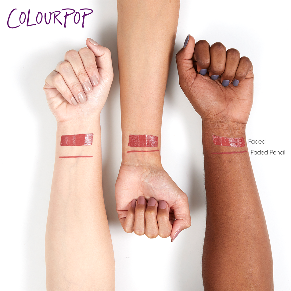Faded rosey coral Lippie Pencil swatches