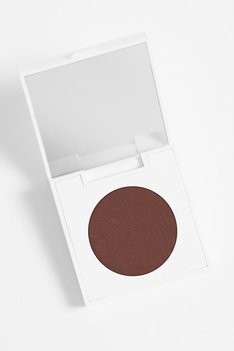 Feathered matte rich chocolate brown Pressed Powder Eyeshadow in compact