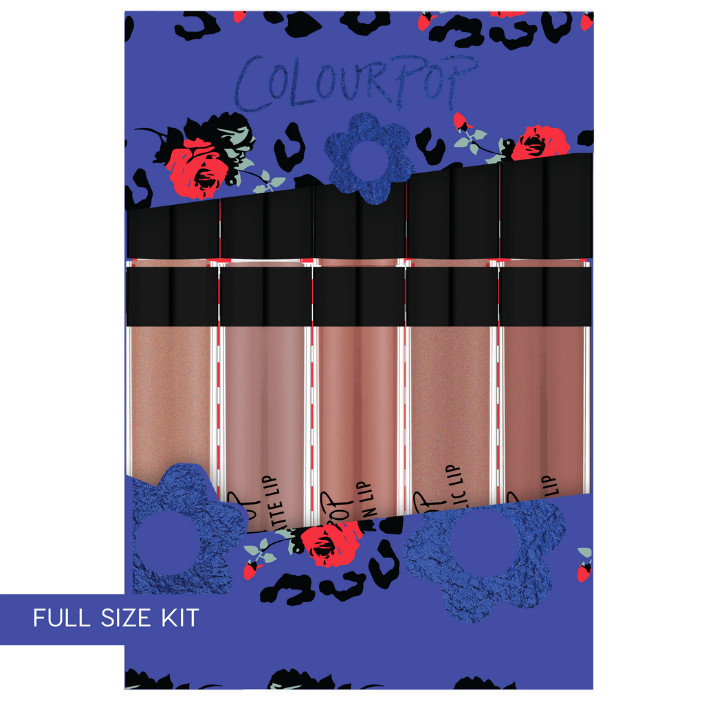 For Fox Sake includes My Jam Ultra Glossy Lip, Trap Ultra Matte Lip, Echo Park Ultra Satin Lip, Man Eater Ultra Metallic Lip, and Beeper Ultra Matte Lip.