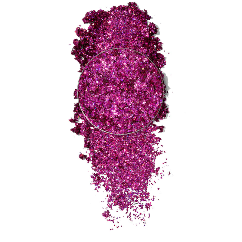 ColourPop Pressed Glitter Freebird vivid fuschia with swatch