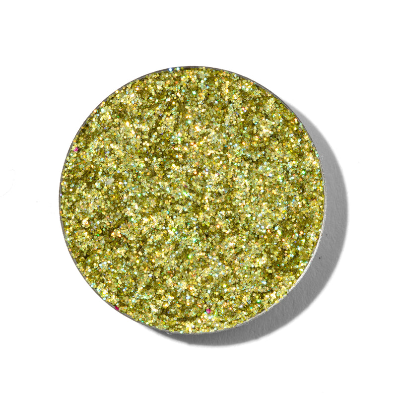 ColourPop Pressed Glitter Fyre holographic lime with swatch