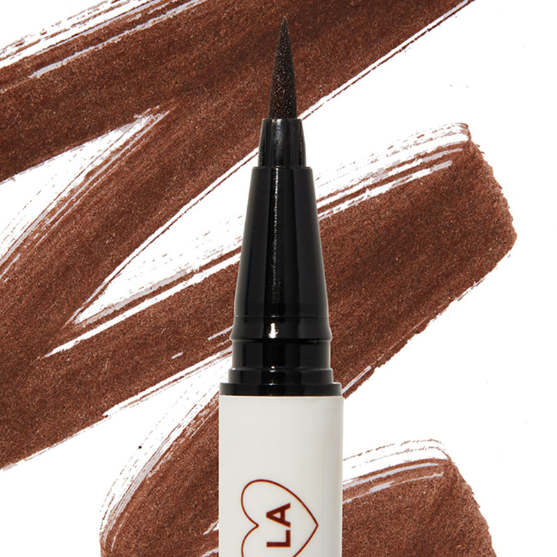 Grande rich dark brown Bff Liquid Liner with swatch in background
