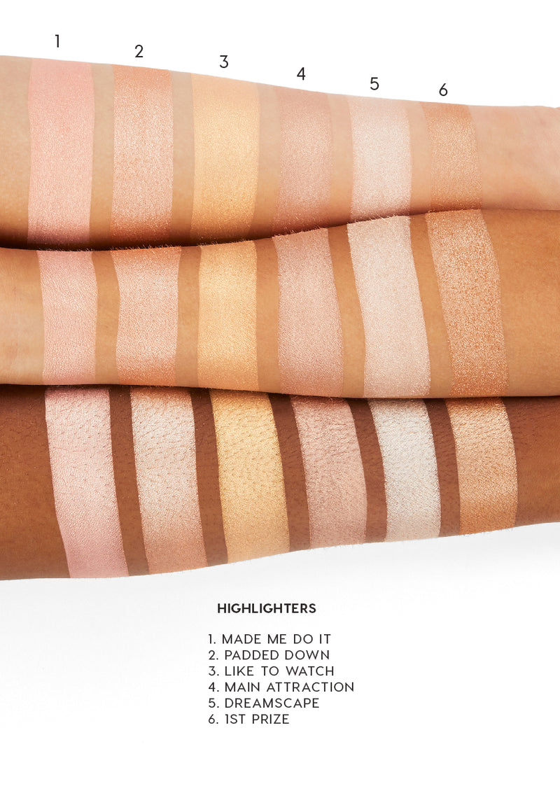 1st Prize pearlized  golden sand Pressed Powder Highlighter arm swatches
