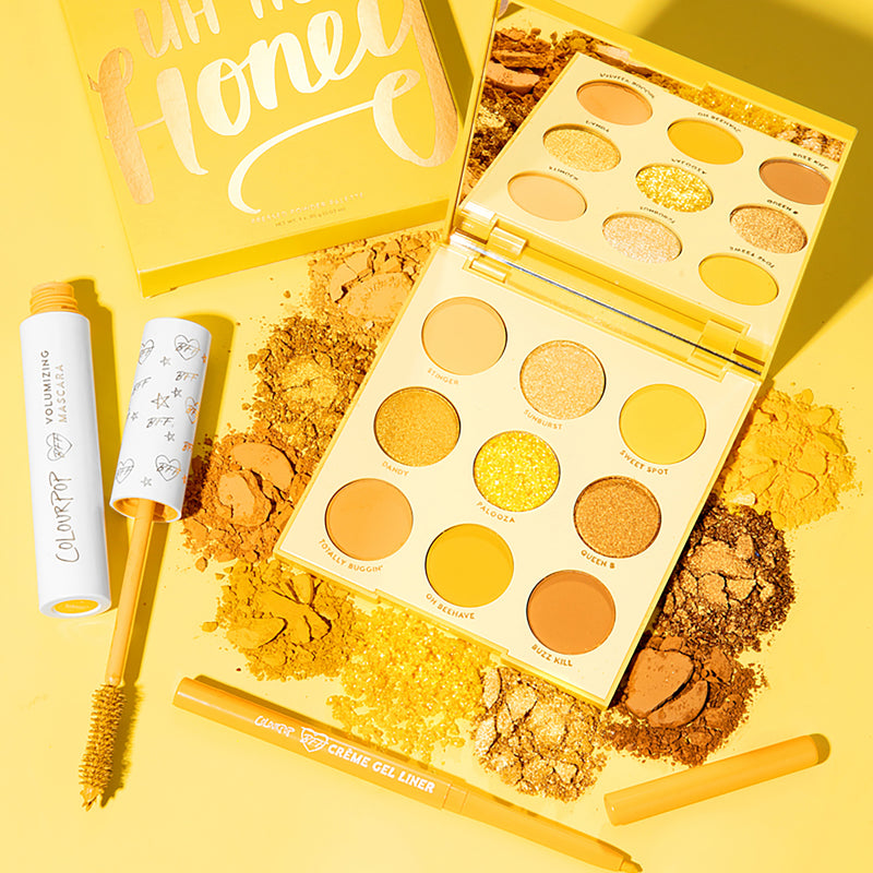 Humble Bee Set includes yellow palette, Uh-Huh Honey with matching BFF Mascara and Créme Gel eyeliner stylized