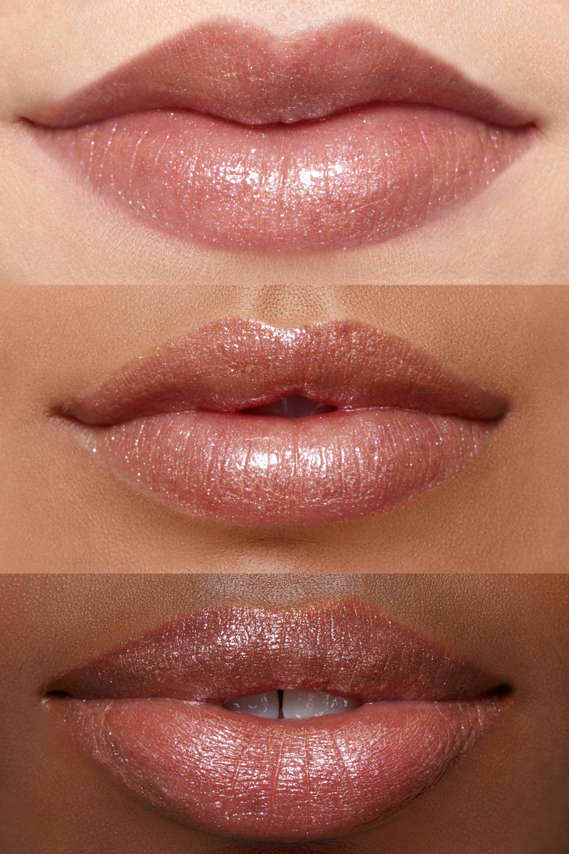 Wilson Gabrielle x ColourPop - Jilly metallic warm champagne with pink & silver glitter Ultra Glossy Lip lip swatches