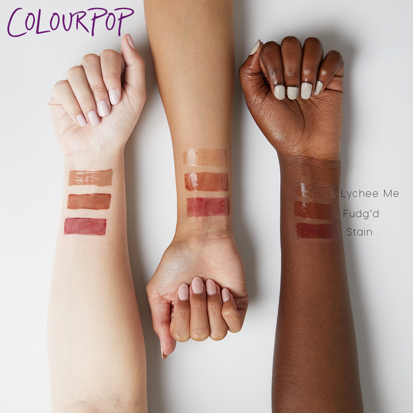 Karrueche Lychee Me warm nude beige Ultra Glossy Lip in a sheer finish swatches