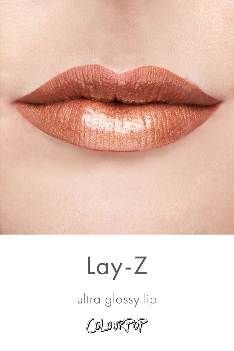 Lay-Z metallic nude with gold glitter Ultra Glossy lip gloss swatch on fair skin