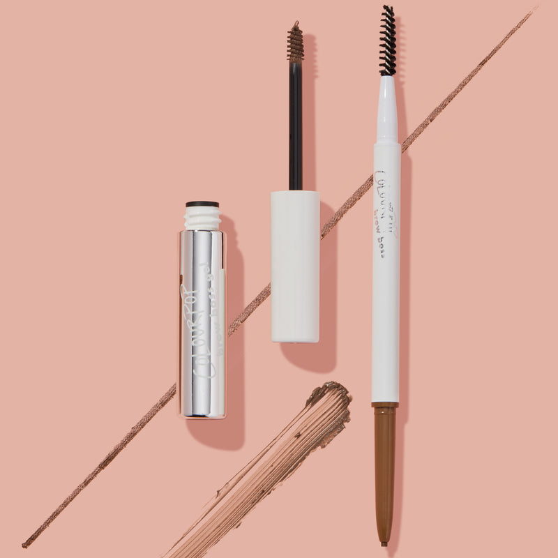 Light Brown Brow Boss Eyebrow Duo stylized with packaging