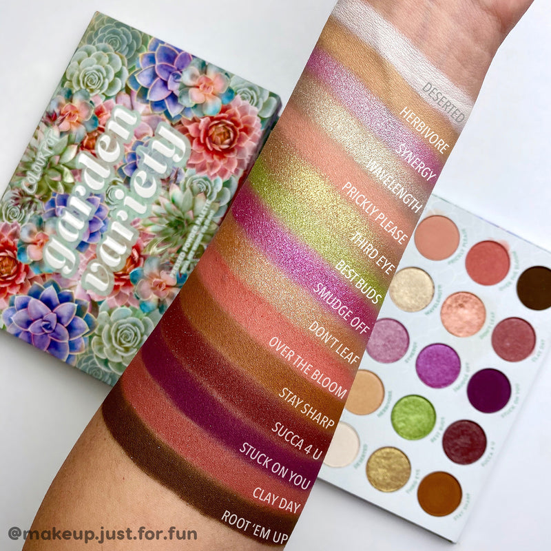ColourPop Garden Variety 15 pan palette with earthy mattes and vibrant shimmers arm swatches