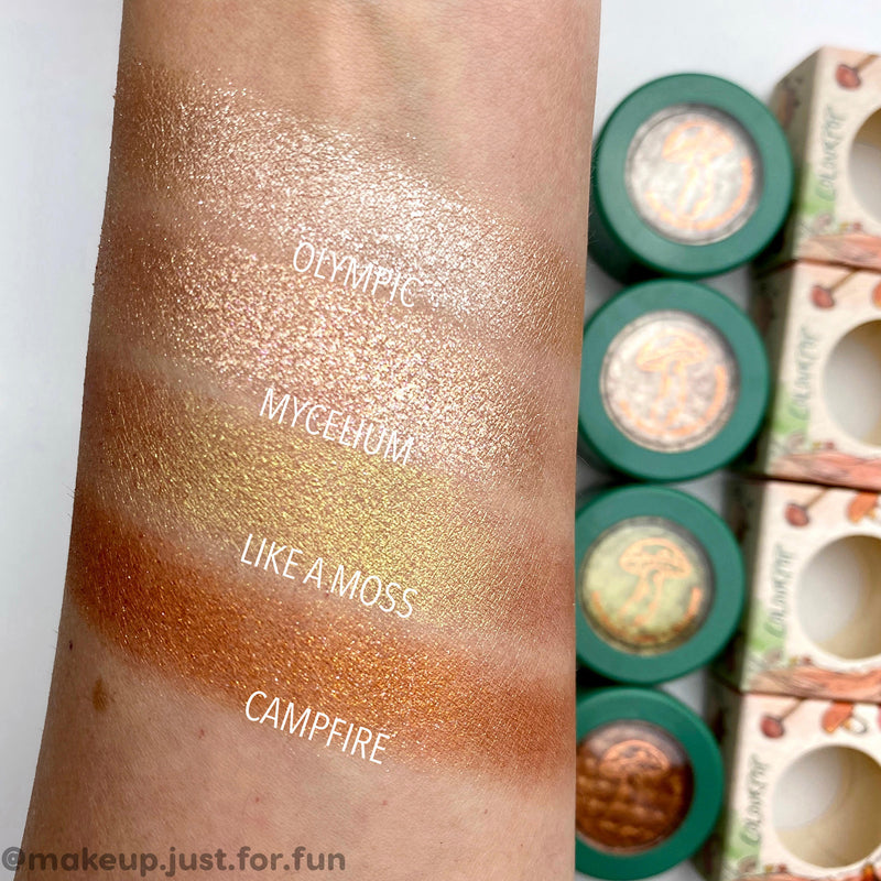 ColourPop x Raw Beauty Kristi Mycelium pale gold with silver and gold pinpoints super shock shadow arm swatch