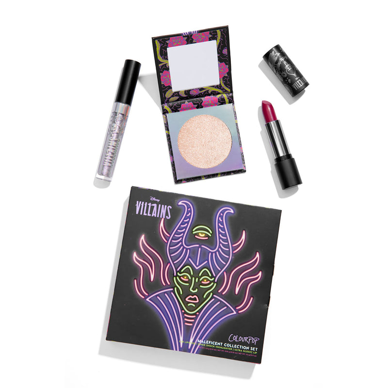 #DisneyVillainsAndColourPop Maleficent Collection Set  includes Lux Lipstick, Ultra Glossy Lip, and Super Shock Highlighter stylized