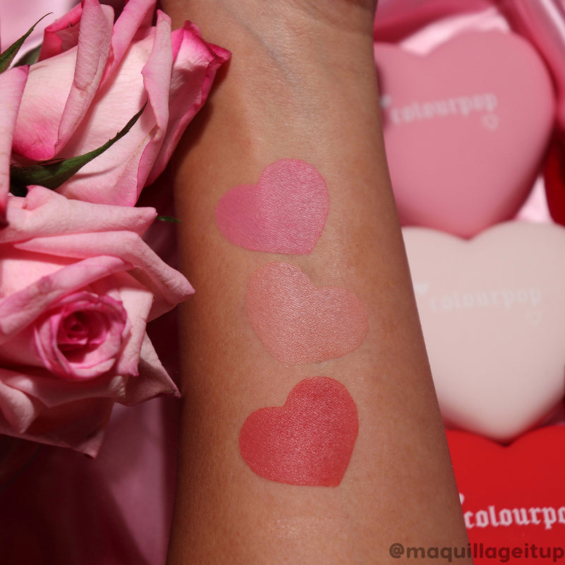 ColourPop Luv Me Not red heart shaped blush arm swatch