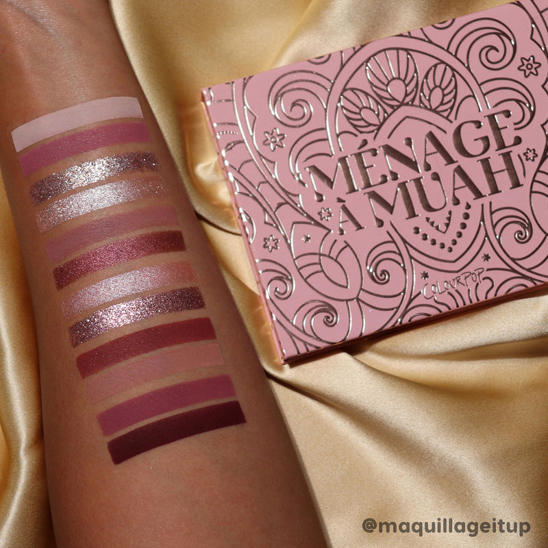 ColourPop Menage a Muah mauve palette arm swatches