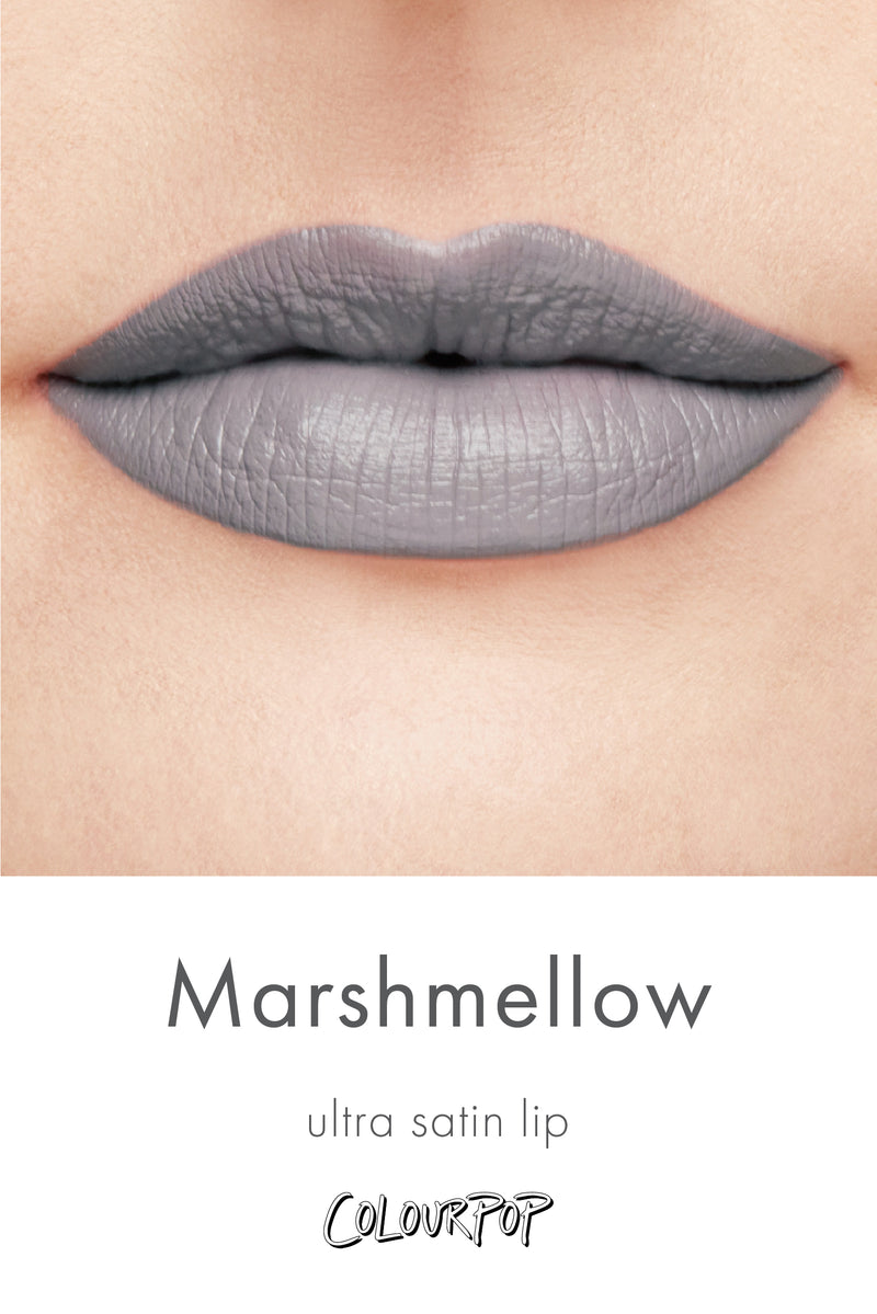 Marshmallow grey lavender Ultra Satin Lipstick swatch on fair skin