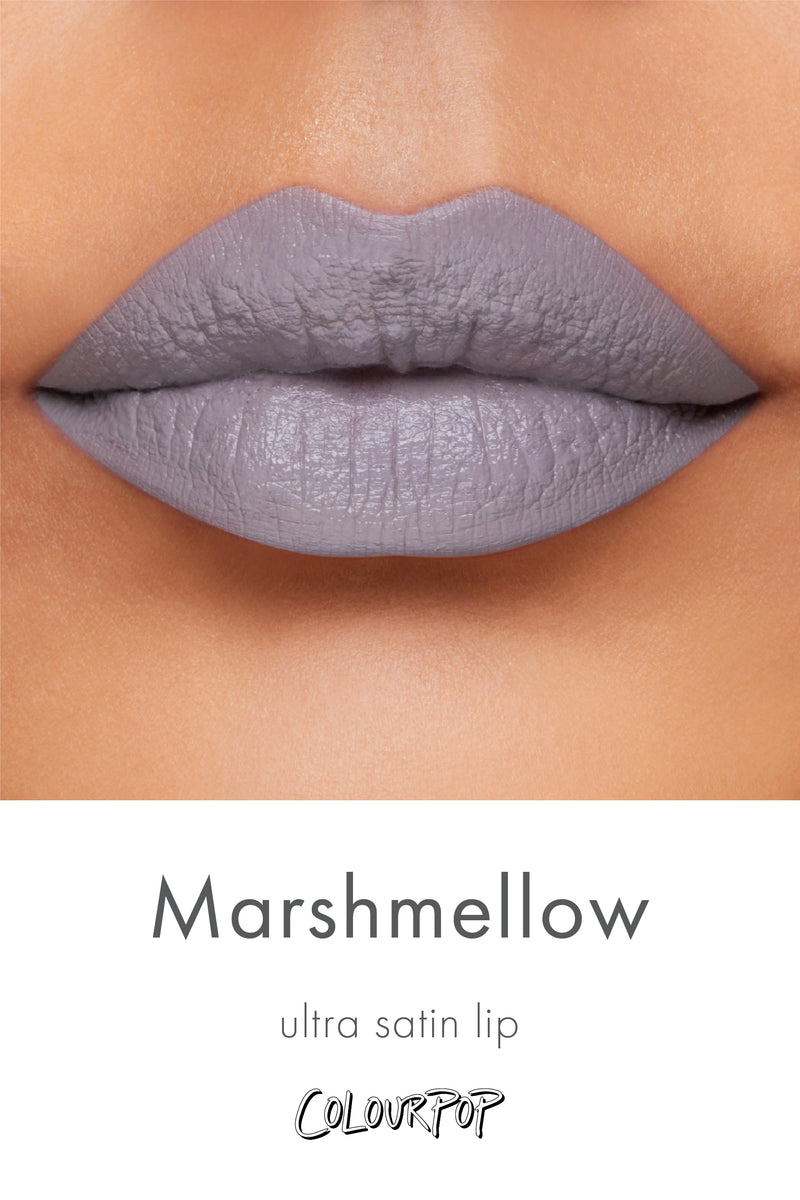 Marshmallow grey lavender Ultra Satin Lipstick swatch on medium skin