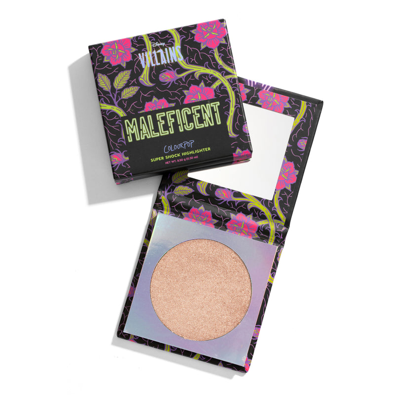 #DisneyVillainsAndColourPop Disney Villains Maleficent Mistress of All Evil Icy champagne Super Shock Highlighter compact with mirror