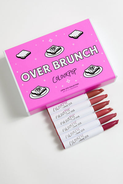 Over Brunch includes Parker matte mid-tone warm nude, Payton matte peachy pink, Cami Matte X cool-tone mauve, Faded crème rosey coral, Rooftop crème cool-toned pink, and Mirror, Mirror Matte X true berry Lippie Stix
