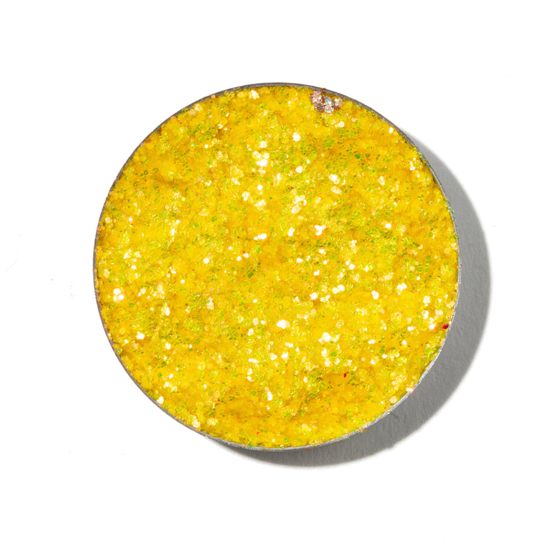 ColourPop Pressed Glitter Palooza bright yellow with a copper duochrome shift with swatch