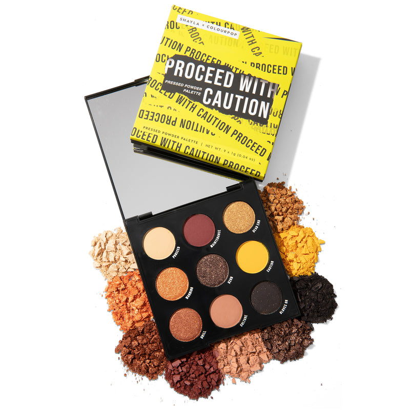 Shayla x ColourPop - Proceed with Caution Pressed Powder Eyeshadow Palette with warm neutrals and pops of yellow