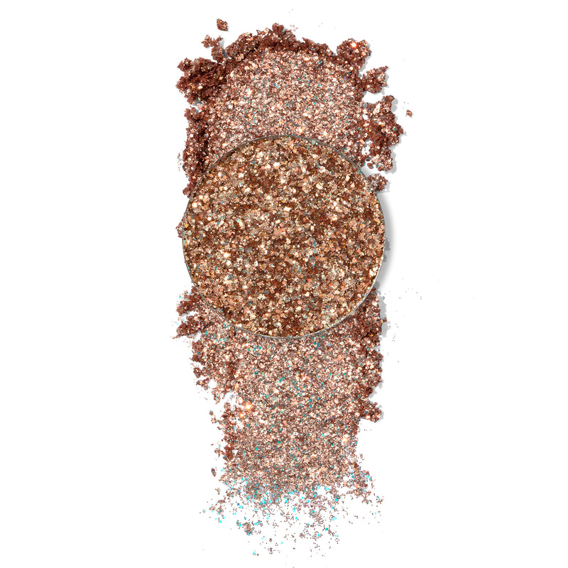 ColourPop Pressed Glitter Renegade soft rose gold with a copper sheen with swatch