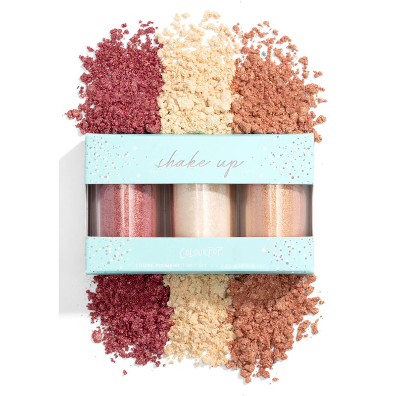 Colourpop Loose Pigment Collection highly concentrated loose pigments deliver intense colour and shine Shake up loose pigment trio