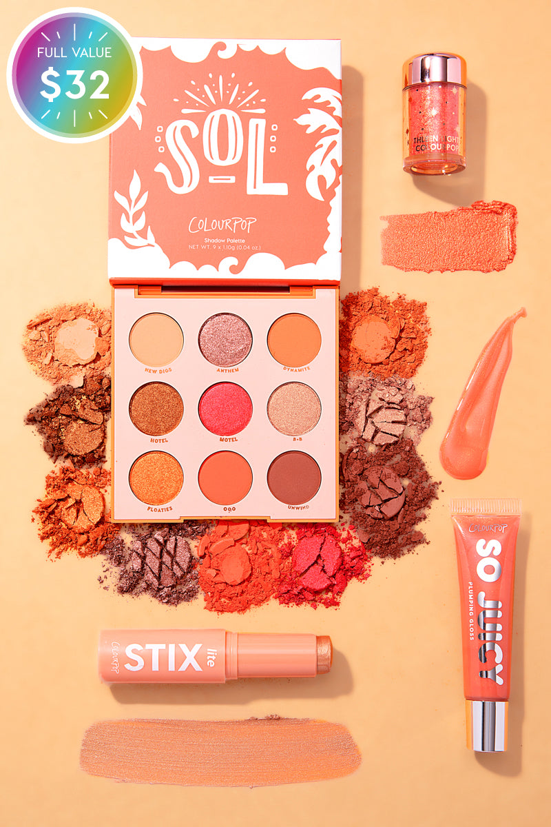 Shook to the Coral Set includes Sol Palette, BFF Liners, So Juicy Gloss, Loose Pigment, and Lite Stix!