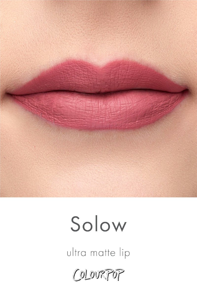 Solow flamingo pink Ultra Matte Lip lipstick swatch on fair skin