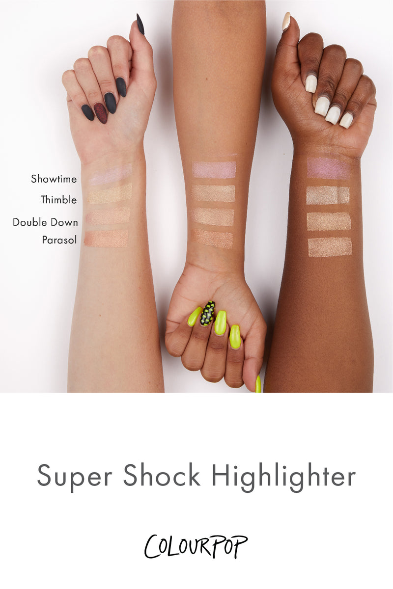 Colourpop Thimble Frosty Light Gold Super Shock Highlighter arm swatches