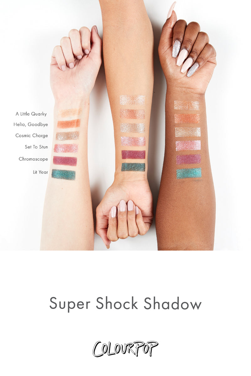 Cosmic Charge warm taupe with blue glitter Super Shock Eyeshadow arm swatches