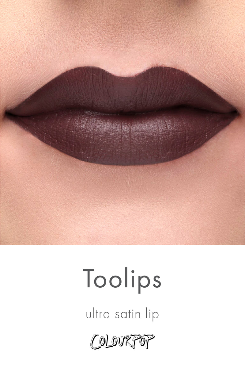 Too Lips deep dark plum brown Ultra Satin Lipstick swatch on fair skin