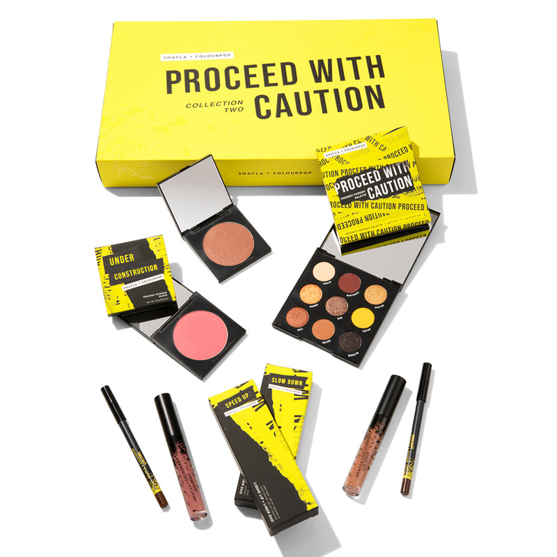 Shayla x ColourPop - Under Construction Collection that includes the Proceed With Caution Palette, Slow Down and Speed Up Lip Duos, and 2 brand new Pressed Powder Blushes.