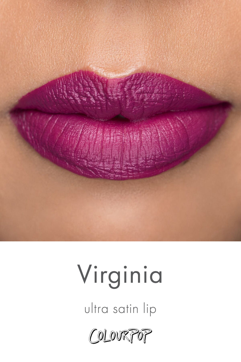 Karrueche x ColourPop - Virginia bright red violet Ultra Satin Lip lipstick swatch on medium skin