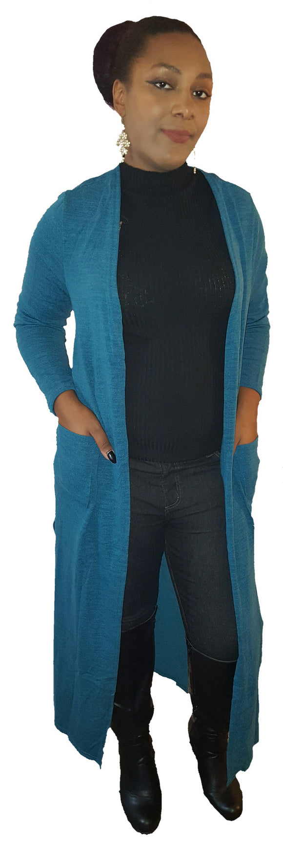 Teal long cardigan - Endless Fashions LLC