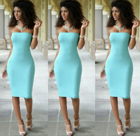 Lake Blue Tube Dress - Endless Fashions LLC