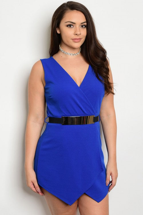 Royal Plus Size Romper - Endless Fashions LLC