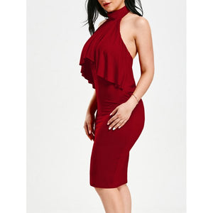 Red Backless Halter Dress - Endless Fashions LLC