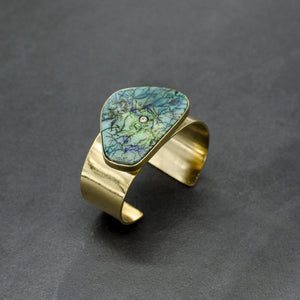 Diamond and Opal Cuff- Blue/Green