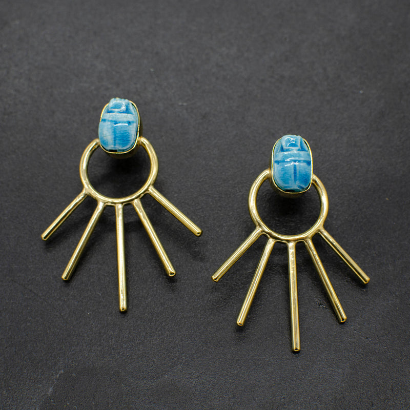 Scarab Sunburst Earrings