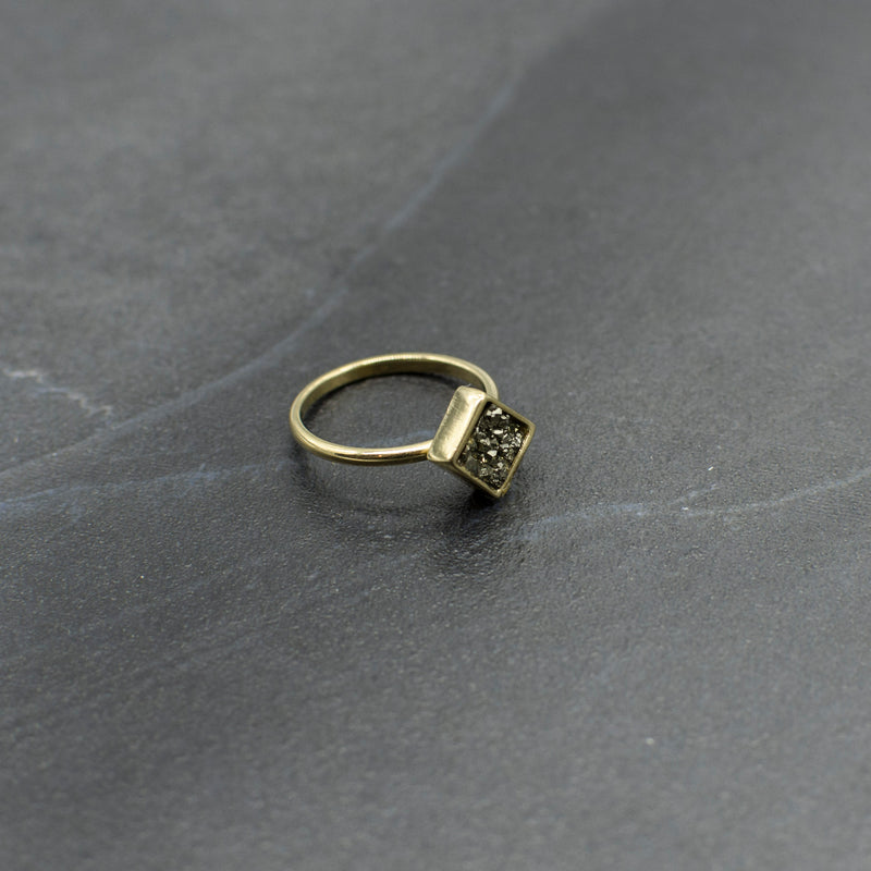 Square Pyrite Ring